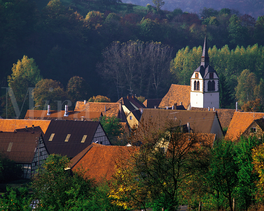 A view over the roofs of the village of Bachlingen near Langenburg in the Black Forest, Bavaria, southern German
