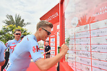 Marcel Kittel (GER) Team Katusha Alpecin signs on before the start of Stage 5 of the 2019 UAE Tour, running 181km form Sharjah to Khor Fakkan, Dubai, United Arab Emirates. 28th February 2019.<br /> Picture: LaPresse/Massimo Paolone | Cyclefile<br /> <br /> <br /> All photos usage must carry mandatory copyright credit (&copy; Cyclefile | LaPresse/Massimo Paolone)