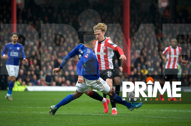 Jan Zamburek of Brentford during the FA Cup 4th round match between Brentford and Leicester City at Griffin Park, London, England on 25 January 2020. Photo by Andy Aleks.