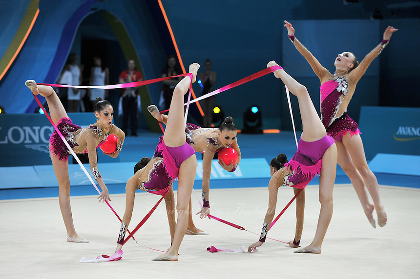 August 31, 2013 - Kiev, Ukraine -  USA RHYTHMIC GROUP performs with ribbon + ball at 2013 World Championships.