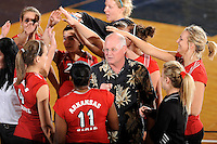 20 November 2008:  Arkansas State Volleyball Head Coach Craig Cummings speaks with hits players during a time out in the Middle Tennessee 3-0 victory over Arkansas State in the first round of the Sun Belt Conference Championship tournament at FIU Stadium in Miami, Florida.