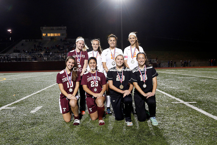 Naugatuck, CT- 03 November 2016-110316CM15- The girls NVL Iron Division all stars: Front row, left to right: Cassie Fedor, Alexis Tyrrell, Torrington; Hailey Boris, Jenna Pannone, Woodland; Back row: Erin Doris, Naugatuck; Gabby Traver, Isabella Orsini, Ashley Gugliotti, Watertown.  Christopher Massa Republican-American