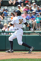 Trenton Thunder outfielder Jake Cave (36) during game against the Binghamton Mets at ARM & HAMMER Park on July 27, 2014 in Trenton, NJ.  Trenton defeated Binghamton 7-3.  (Tomasso DeRosa/Four Seam Images)