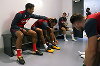 Pictured L-R: Kyle Naughton touches Kyle Bartley's hair while he puts his boots on. Tuesday 11 July 2017<br />Re: Swansea City FC training at Fairwood training ground, UK