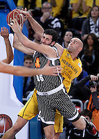 Herbalife Gran Canaria's Xavi Rey (r) and Uxue Bilbao Basket's Alex Mumbru during Spanish Basketball King's Cup match.February 07,2013. (ALTERPHOTOS/Acero)
