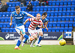 St Johnstone v Hamilton Accies...12.09.15  SPFL McDiarmid Park, Perth<br /> Steven MacLean scores from the penalty spot<br /> Picture by Graeme Hart.<br /> Copyright Perthshire Picture Agency<br /> Tel: 01738 623350  Mobile: 07990 594431