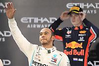 1st December 2019; Yas Marina Circuit, Abu Dhabi, United Arab Emirates; Formula 1 Abu Dhabi Grand Prix, race day; Mercedes AMG Petronas Motorsport, Lewis Hamilton wins in Abu Dhabi and celebrates on the podium