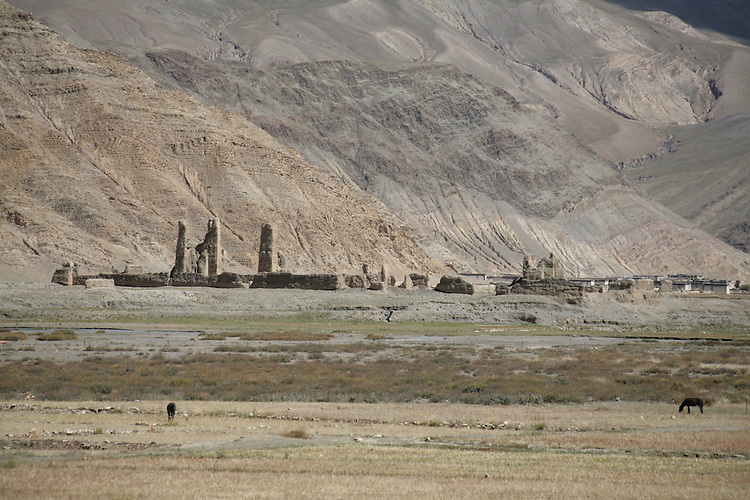 Ruins in a Tibetan valley.