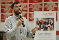 NWA Democrat-Gazette/DAVID GOTTSCHALK Kikko Haydar, former University of Arkansas basketball player and student at Ramay Junior High, speaks Thursday, October 4, 2018, during an assembly where it was announced that every seventh and eighth grade student at Ramay and Woodland Junior High in Fayetteville will receive a copy of The Crossover by author Kwame Alexander. The books were made possible by a gift from Tyson Charitable Giving through the Fayetteville Public Education Foundation. Alexander will be a guest speaker at True Lit: Fayetteville Literary Festival October 28 through November 4.