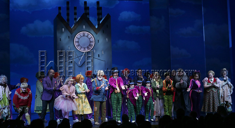 F. Michael Haynie, Alan H. Green, Emma Pfaeffle, Jackie Hoffman, John Rubinstein, Christian Borle, Jake Ryan Flynn, Ryan Sell, Ryan Foust, Emily Padgett, Michael Wartella, Ben Crawford, Trista Dollison, Kathy Fitzgerald and cast during the Broadway Opening Performance Curtain Call of 'Charlie and the Chocolate Factory' at the Lunt-Fontanne Theatre on April 23, 2017 in New York City.