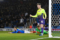 Ben Seymour of Exeter City right celebrates the second Exeter City goal scored by Christian Burgess of Portsmouth left during Portsmouth vs Exeter City, Leasing.com Trophy Football at Fratton Park on 18th February 2020