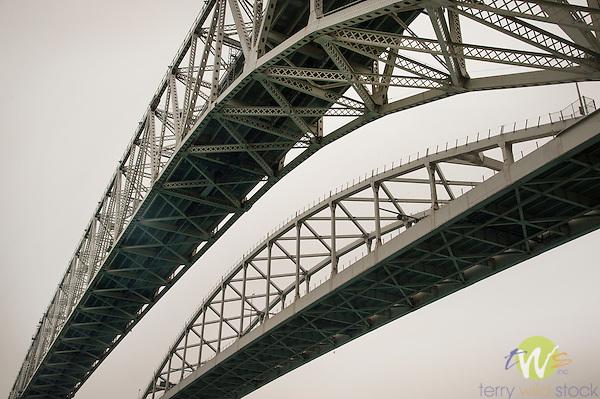 Blue Water Bridge. Twin-span international bridge across the St. Clair River that links Port Huron, Michigan, USA and Sarnia, Ontario, Canada.