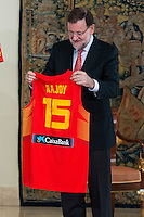 The reception of Prime Minister Mariano Rajoy to Spain national basketball team gold at EuroBasket 2015 at Moncloa Palace in Madrid, 21 September, 2015.<br /> Prime Minister Mariano Rajoy with shirt with the number of Mariano Rajoy.<br /> (ALTERPHOTOS/BorjaB.Hojas) /NortePhoto.com