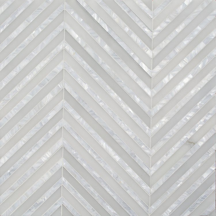Rohan, a hand-cut stone mosaic, shown in polished Heavenly Cream and Shell, is part of the Semplice® collection for New Ravenna.