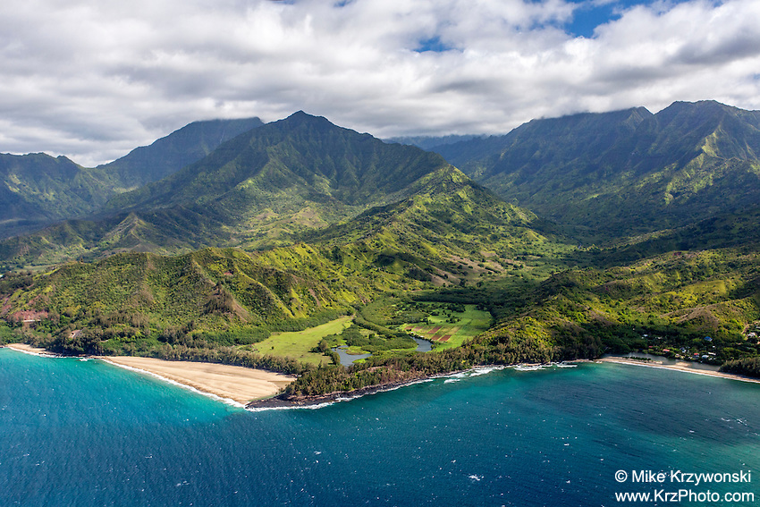 Aerial view of north shore, Kauai