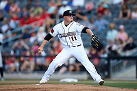 Fayetteville Woodpeckers starting pitcher Chad Donato (11) in action against the Carolina Mudcats at SEGRA Stadium on May 18, 2019 in Fayetteville, North Carolina. The Mudcats defeated the Woodpeckers 6-4. (Brian Westerholt/Four Seam Images)