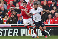 Bolton Wanderers' Filipe Morais and Barnsley's Nicky Law<br /> <br /> Photographer Rachel Holborn/CameraSport<br /> <br /> The EFL Sky Bet Championship - Barnsley v Bolton Wanderers - Saturday 14th April 2018 - Oakwell - Barnsley<br /> <br /> World Copyright &copy; 2018 CameraSport. All rights reserved. 43 Linden Ave. Countesthorpe. Leicester. England. LE8 5PG - Tel: +44 (0) 116 277 4147 - admin@camerasport.com - www.camerasport.com