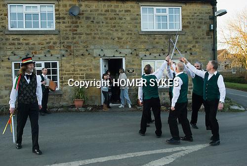 Longsword Sword Dance team. Kirkby Malzeard. Yorkshire UK. Performed on Boxing Day December 26th 2008.