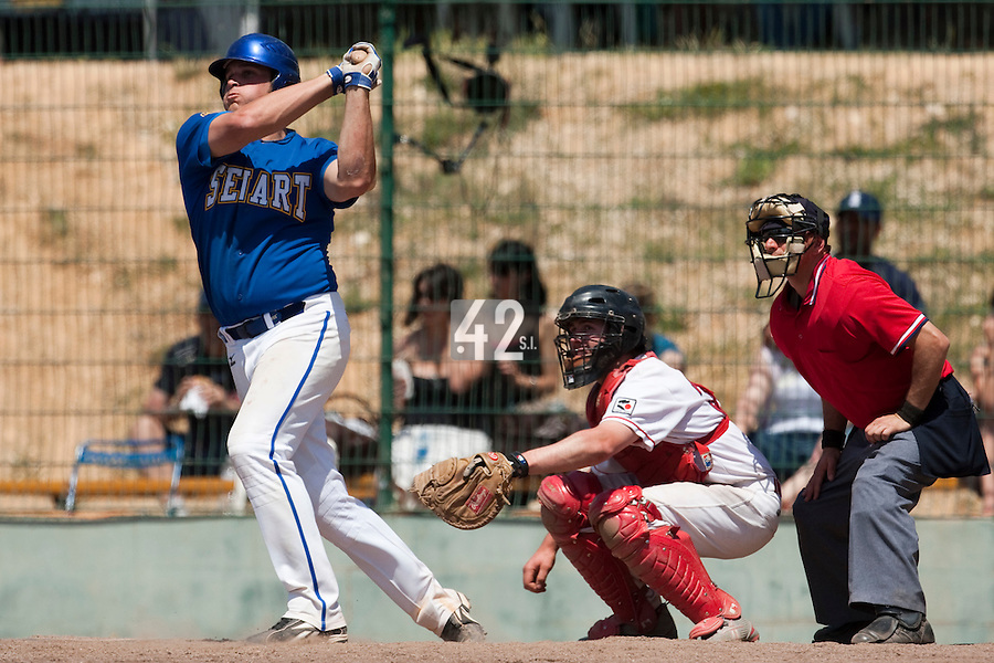 24 May 2009: Rhett Teller of Senart is seen at bat during the 2009 challenge de France, a tournament with the best French baseball teams - all eight elite league clubs - to determine a spot in the European Cup next year, at Montpellier, France. Senart wins 8-5 over La Guerche.