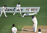 30th November 2019, Hamilton, New Zealand;  BJ Watling takes a catch to dismiss Denly off the bowling of Henry on day 2 of 2nd test match between New Zealand and England,  International Cricket at Seddon Park, Hamilton, New Zealand.  - Editorial Use