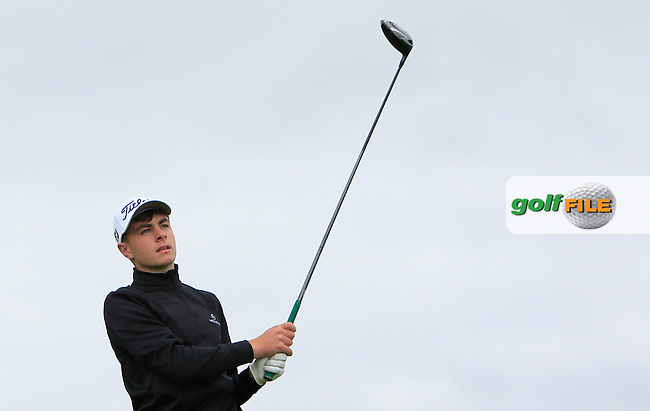 Sean Carroll (Castle Dargan) on the 18th tee during R1 of the 2016 Connacht U18 Boys Open, played at Galway Golf Club, Galway, Galway, Ireland. 05/07/2016. <br /> Picture: Thos Caffrey | Golffile<br /> <br /> All photos usage must carry mandatory copyright credit   (&copy; Golffile | Thos Caffrey)