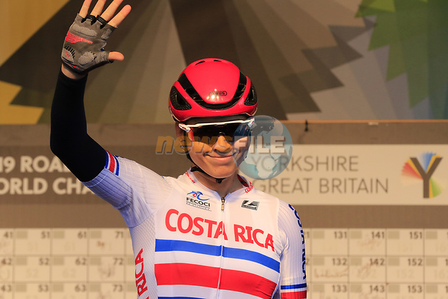 Maria Jose Vargas Barrientos of Costa Rica at sign on for the start of the Women Elite Road Race of the UCI World Championships 2019 running 149.4km from Bradford to Harrogate, England. 28th September 2019.<br /> Picture: Eoin Clarke | Cyclefile<br /> <br /> All photos usage must carry mandatory copyright credit (© Cyclefile | Eoin Clarke)