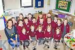 CLASS PHOTO: Junior Infants from Athea National School who started their school journey last Monday morning were front  l-r: Leona Wall, Stephanoe Ambrose, Amy Steward, Emma Scanlon and Ava Leahy. Middle l-r: Miss Nash, Ella Ahern, Jim Ahern, Jack Sexton, Sean Twomey, Alex Quinn, Leah Wall and Courtney Hunt. Back l-r: Anna Ahern, Ciara Carroll, Michael Kelly, Jamie Collins, Tomás Ahern and Joshua Woulfe.