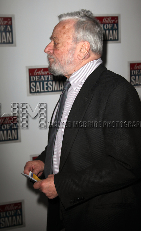 "Stephen Sondheim pictured at the Opening Night Arrivals of ""Death Of A Salesman"" at The Barrymore Theatre New York City March 15, 2012 © Walter McBride / WM Photography"