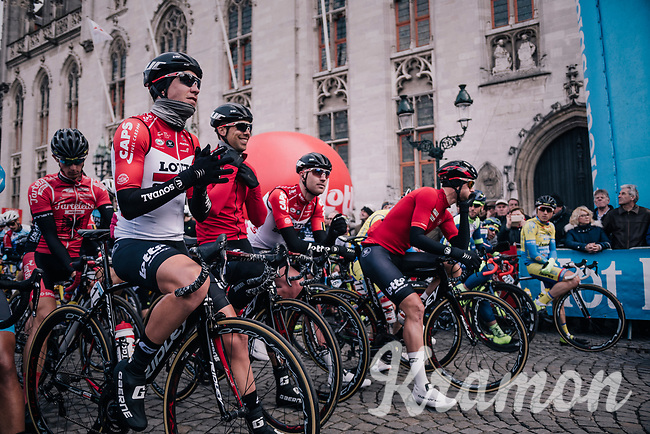 Team Lotto-Soudal at the race start in the Central Square in Bruges<br /> <br /> Driedaagse Brugge-De Panne 2018<br /> Bruges - De Panne (202km)