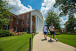 Conner Young, left, and Vince Gassman make their way to take an MBA final.  Photo by Kevin Bain/Ole Miss Communications