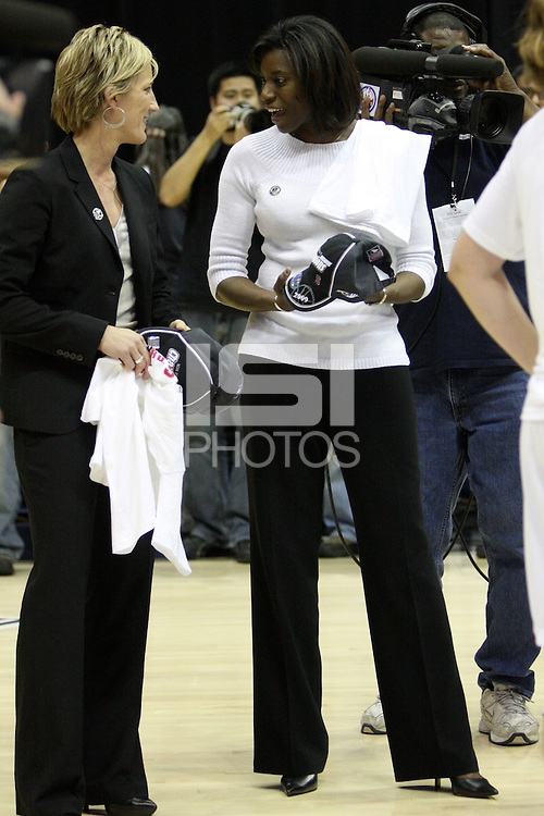 BERKELEY, CA - MARCH 30: Assistant coach Bobbie Kelsey enjoys the celebration following Stanford's 74-53 win against the Iowa State Cyclones on March 30, 2009 at Haas Pavilion in Berkeley, California.