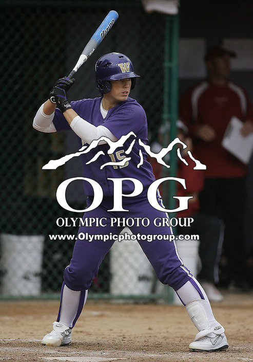 28 May 2010:  Washington Huskies pitcher Danielle Lawrie sets up in the batters box against Oklahoma.  Washington defeated Oklahoma 3-0 in the second game of the NCAA Super Regional at Husky Softball Stadium in Seattle, WA.