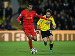 Watford's Daryl Janmaat tussles with Liverpool's Joel Matip during the Premier League match at Vicarage Road Stadium, London. Picture date: May 1st, 2017. Pic credit should read: David Klein/Sportimage