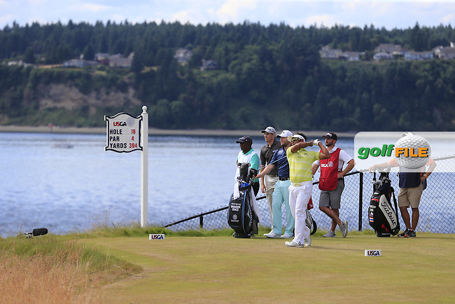 Thongchai JAIDEE (THA) tees off the 16th tee during Thursday's Round 1 of the 2015 U.S. Open 115th National Championship held at Chambers Bay, Seattle, Washington, USA. 6/18/2015.<br /> Picture: Golffile | Eoin Clarke<br /> <br /> <br /> <br /> <br /> All photo usage must carry mandatory copyright credit (&copy; Golffile | Eoin Clarke)