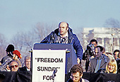 """Natan Scharansky speaks at the """"Campaign to the Summit"""", a march on Washington, D.C. supporting freedom for Jews living in the Soviet Union, on Sunday, December 6, 1987.  200,000 people marched to focus attention on the repression of Soviet Jewry, was scheduled a day before United States President Ronald Reagan and Soviet President Mikhail Gorbachev began a 2 day summit in Washington where they signed the Intermediate Range Nuclear Forces (INF) Treaty.<br /> Credit: Ron Sachs / CNP"""