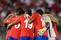 Costa Rica huddles before the start of the second half. The United States defeated Costa Rica 1-0 during a CONCACAF Gold Cup group B match at Rentschler Field in East Hartford, CT, on July 16, 2013.