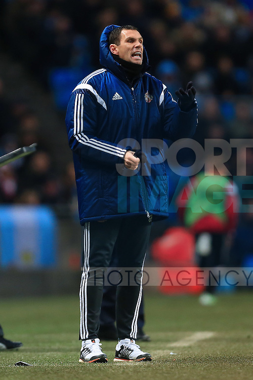 Manager of Sunderland, Gus Poyet - Manchester City vs. Sunderland - Barclay's Premier League - Etihad Stadium - Manchester - 28/12/2014 Pic Philip Oldham/Sportimage