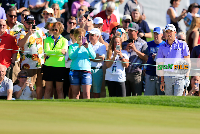 Justin Thomas (USA) on the 2nd green during the 2nd round of the Waste Management Phoenix Open, TPC Scottsdale, Scottsdale, Arisona, USA. 01/02/2019.<br /> Picture Fran Caffrey / Golffile.ie<br /> <br /> All photo usage must carry mandatory copyright credit (&copy; Golffile | Fran Caffrey)