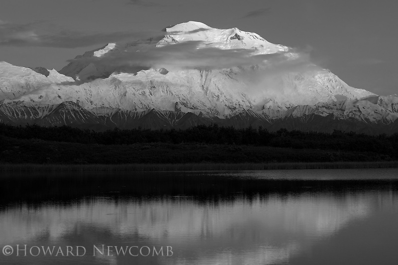 Mt. McKinley rises 20,320' from the valley floor in Denali National Park, Alaska.  The summit is still softly lit at midnight during the first week of summer.