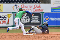 Brendan Rodgers (1) of the Hartford Yard Goats attempts to complete a double play during a game against the New Hampshire Fisher Cats at Dunkin Donuts Park on April 8, 2018 in Hartford, Connecticut.<br /> (Gregory Vasil/Four Seam Images)