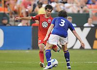 DC United midfielder Austin Da Luz (3) goes against Everton defender Leighton Baines (3)    Everton defeated DC United 3-1 in a international friendly ,at RFK Stadium, Saturday July 23, 2011.