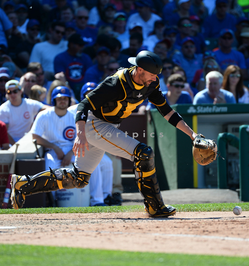 Pittsburgh Pirates Chris Stewart (19) during a game against the Chicago Cubs on June 17, 2016 at Wrigley Field in Chicago, IL. The Cubs beat the Pirates 6-0.