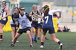 Santa Barbara, CA 02/19/11 - Hayleigh Garlow (CSU Fullerton #15) and \scr7\ in action during the CSU Fullerton-UC Santa Cruz game at the 2011 Santa Barbara Shootout.