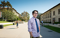 Student body president Zachary Solomon '19 hadn't planned on becoming an ASOC (Associated Students of Occidental College) officer when he arrived at Oxy. But after realizing that he could make a real contribution, he stepped up to the plate. Profile photo taken on Sept. 27, 2017 outside the Johnson Student Center.<br /> (Photo by Marc Campos, Occidental College Photographer)