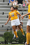 20 September 2009: LSU's Taryne Boudreau (CAN) (16) and Duke's Elisabeth Redmond (behind) challenge for a header. The Duke University Blue Devils played the Louisiana State University Tigers to a 2-2 tie after overtime at Koskinen Stadium in Durham, North Carolina in an NCAA Division I Women's college soccer game.