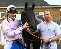 Connections of Oofy Prosser in the Winners enclosure after winning The Peter Symonds Catering Claiming Stakes during Afternoon Racing at Salisbury Racecourse on 16th May 2019