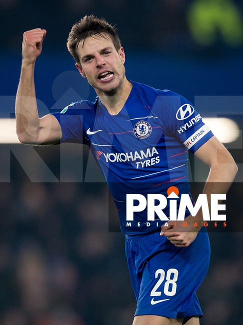 Cesar Azpilicueta of Chelsea celebrates at full time during the Carabao Cup Semi-Final 2nd leg match between Chelsea and Tottenham Hotspur at Stamford Bridge, London, England on 24 January 2019. Photo by Andy Rowland.