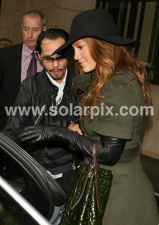 "**ALL ROUND PICTURES FROM SOLARPIX.COM**.**WORLDWIDE SYNDICATION RIGHTS**.Jennifer Lopez aka J-Lo ""I'm just Jenni from the block"", leaves the Dorchester Hotel in London with her husband Marc Anthony today. 20th September 2007  ..This pic: Marc Anthony and Jennifer Lopez.JOB REF: 4785 SSD     DATE: 20_09_2007.**MUST CREDIT SOLARPIX.COM OR DOUBLE FEE WILL BE CHARGED* *UNDER NO CIRCUMSTANCES IS THIS IMAGE TO BE REPRODUCED FOR ANY ONLINE EDITION WITHOUT PRIOR PERMISSION*"
