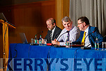 Thomas Hunter McGowan (Secretary Kerry Co-op), Mundy Hayes (Chairman Kerry Co-op) and Brian Mehigan (Strategy Officer Kerry Group PLC) at the Kerry Co-op Shareholders meeting which took place at Ballyroe Heights Hotel, Tralee, on Tuesday night last.