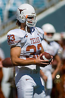 07 October 2006: Texas defender Scott Derry warms up before the Longhorns game against the University of Oklahoma Sooners at the Cotton Bowl in Dallas, TX.